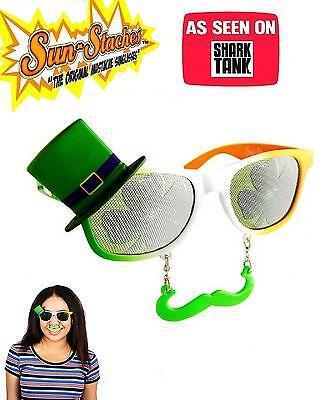Sun-Stache St Patricks Day Sunglasses Shades Shamrock Mens Womens ASO Shark Tank - St Patricks Day Sunglasses