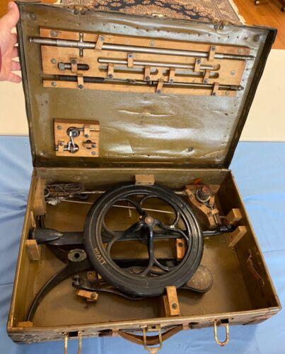 Antique Cast Iron PRIMITIVE FOOT PEDAL MANUAL ENGINE DENTIST DRILL DR Chest