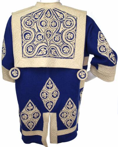 Antique Vtg Hungarian Wool Felt Applique Blue & White Folkloric Szur Jacket Coat