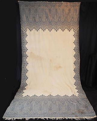 """ANTIQUE PAISLEY SHAWL 1870's ENGLISH KIRKING SHAWL LONG  - 131"""" x 60"""""""