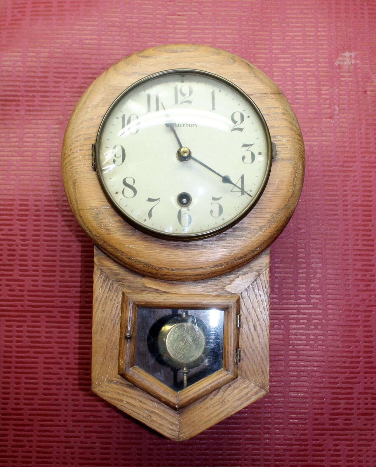 *Antique-Wall-Clock- Regulator  Waterbury *Little Clock miniature