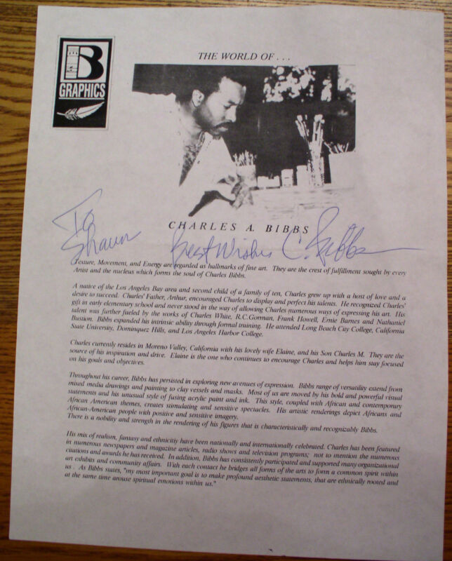 Charles A. Bibbs Autograph - Signed & Inscribed promotional biography