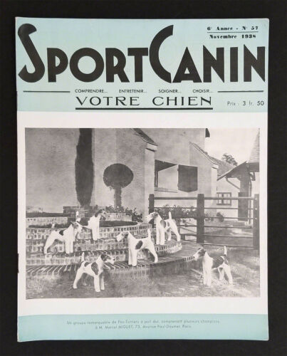 Wire Fox Terriers, Sport Canin, Nov.,1938. Wire Fox Terrier dog.