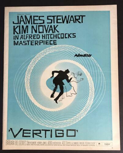 1958 VERTIGO MOVIE POSTER AD MEGA RARE BLUE VERSION! ALFRED HITCHCOCK SAUL BASS!