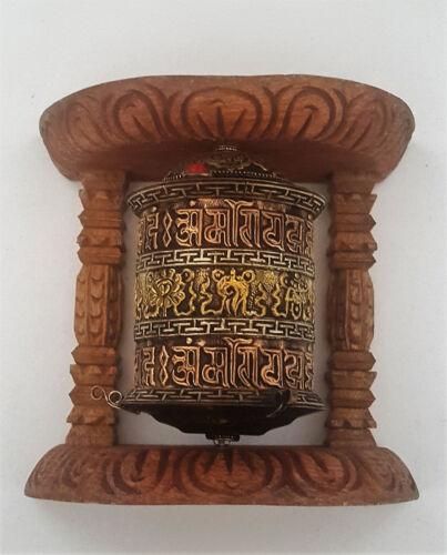"Tibetan 8 Auspicious Signs & Om Mantra Wall Hanging Prayer Wheel  5.5""  - Nepal"