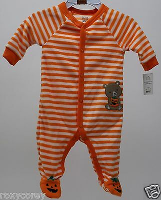 Halloween Infant Carter's Orange Stripe Fleece Sleeper Size Newborn 5-8 lbs (Newborn Halloween Costumes)