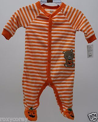 Halloween Infant Carter's Orange Stripe Fleece Sleeper Size Newborn 5-8 lbs