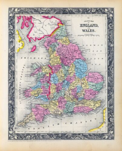 1860 ornate map ENGLAND WALES Augustus Mitchell, Jr. POSTER 0565035