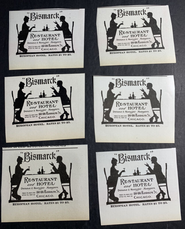 Lot Of 6 Bismark Restaurant And Hotel Chicago GRAPHIC Ad 1907 Silhouettes