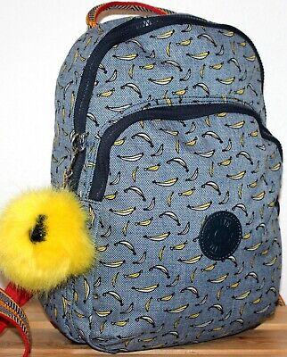 Kipling Banana Print Backpack/Rucksack/Shoulder/Grab Bag/Purse + Monkey Pom covid 19 (Kipling Print Backpack coronavirus)