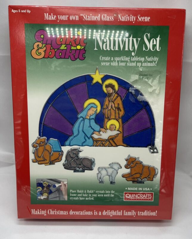 """Vin Make It And Bake It """"MAKIT & BAKIT"""" Stained Nativity Christmas Factory Seald"""