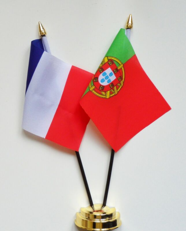 France & Portugal Double Friendship Table Flag Set