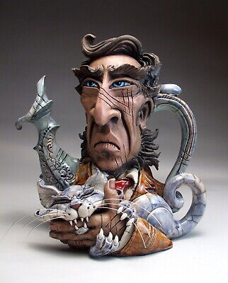 Feral Cat Face Jug Teapot folk art pottery sculpture by Mitchell Grafton