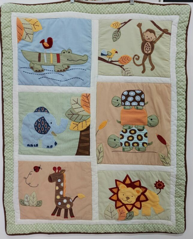 Handmade Baby Quilt Boys Embroidered Applique Animals Warm Comforter Crib Bed
