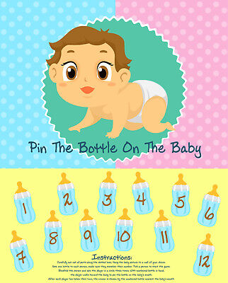 The Baby Game (Fun Baby Shower Party Game PIN THE BOTTLE ON THE BABY Fun Blindfold Favor)