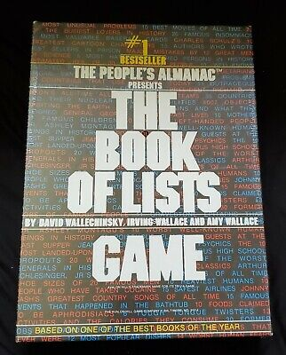 1979 #1 Bestseller The Book of Lists Game NEW! Still Sealed! Leisure Time (New Times Best Seller List)