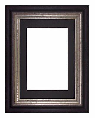Wide Frame London Range Picture Frame Photo Frames With Mount   Black -