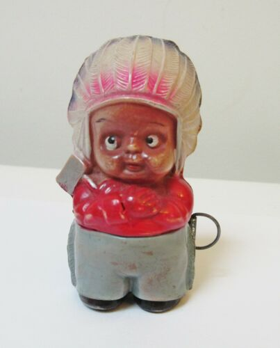 Vintage Celluloid Tape Measure Indian Child with Tomahawk