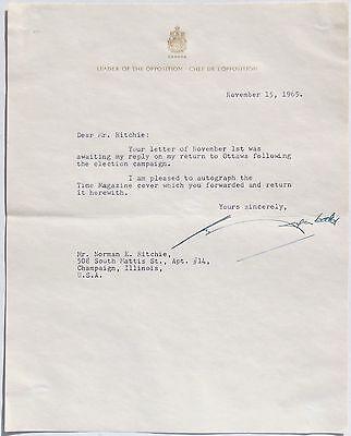 John Diefenbaker 13th Prime Minister Of Canada Signed Letter