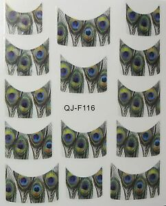 Accessoire-ongles-nail-art-Stickers-decalcomanie-motifs-plumes-de-paon
