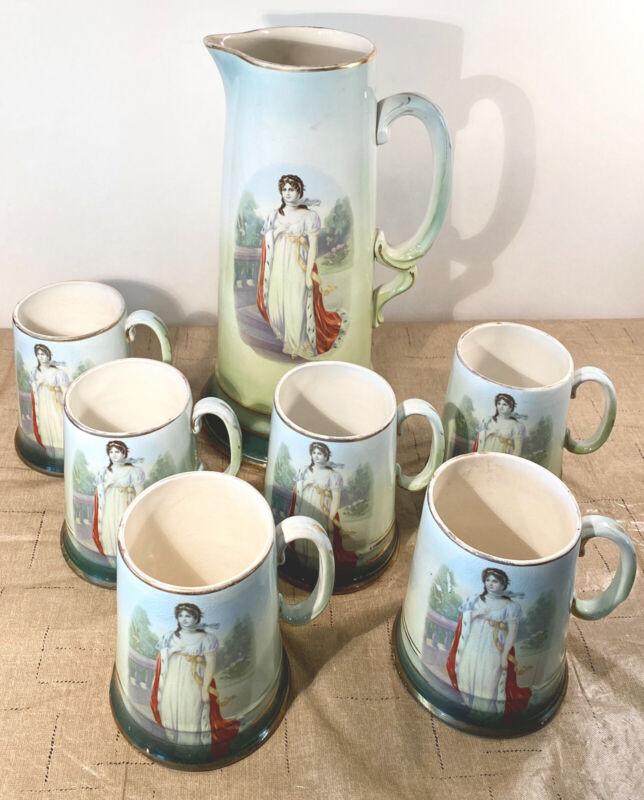 Vintage Antique Victorian Lady Pitcher and 6 Tankard Mug Ceramic Set - VERY RARE