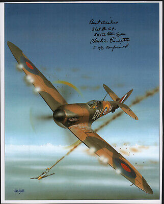 """SUPERB COLOR BOOK PHOTO SIGNED by """"CHARLIE FISCHETTE"""" SPITFIRE FIGHTER ACE!"""