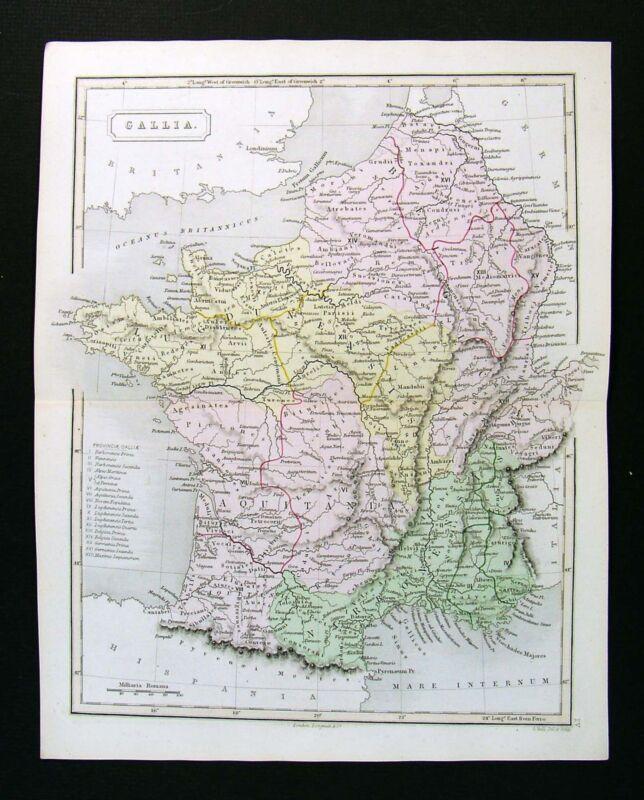 1867 Sydney Hall Map - Ancient Gallia Gaule France Belgium Lutetia Paris  Europe