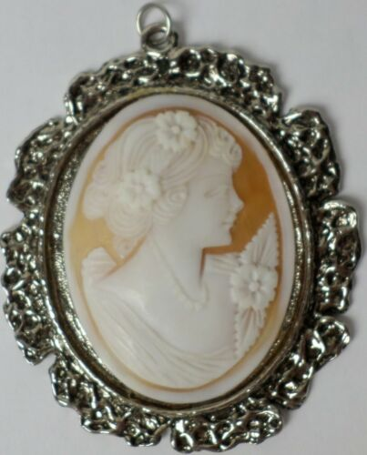 59x45mm Huge Shell Hand Carved Right Facing Victorian Woman Cameo Silver Pendant