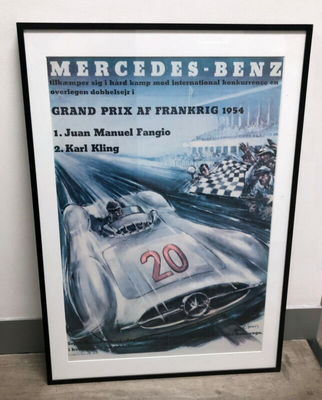 1954 GRAND PRIX FRANKRIG RACE POSTER featuring Juan Fangio, FRAME NOT INCLUDED