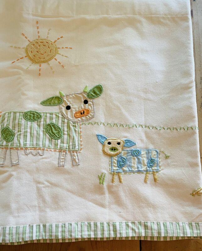 Pair 2 Pottery Barn Kids Valance Farm Animals Window