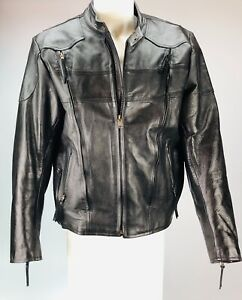 Vintage motorcycle jacket Black Leather men's XL size 46