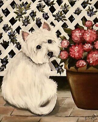 Westie Highland Terrier (West Highland Terrier WESTIE PRINT from Painting art Dog 8x10 )