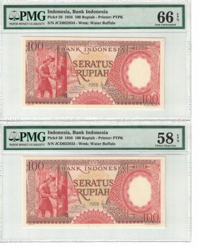 Indonesia Lot of 2 CONSECUTIVE 100 Rupiah 1958 PICK# 59 PMG-58, 66 EPQ (#1261)