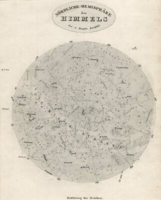 Star Map Unit. Hemisphere Original Steel Engraving Map Bibl. Inst. 1835