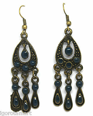 PAIR ANTIQUE STYLE TONE GOTHIC  STYLE EAR STUD DANGLE EARRINGS UK POST