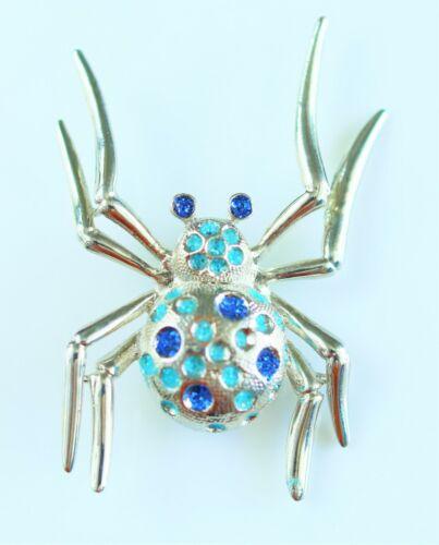 Large spider silver tone blue glittery enamel  BROOCH