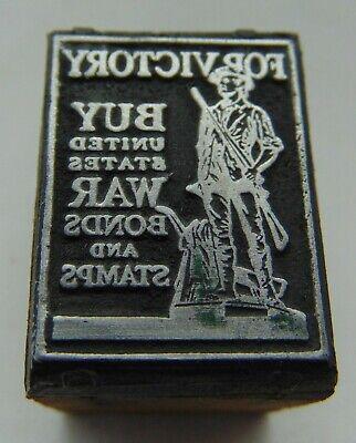Vintage Printing Letterpress Printers Block War Bond Stamp