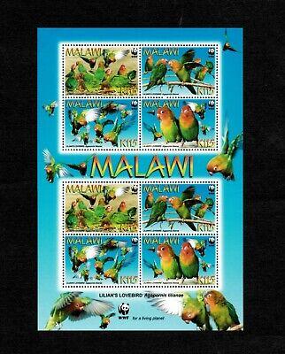 MODERN GEMS - Malawi - 2009 - WWF Lilian's Lovebird - Souvenir Sheet - MNH