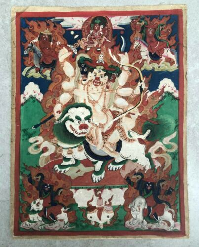Antique wonderful Thangka (tangka) of the the five great kings (mahapancaraja).