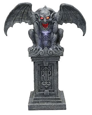 Halloween Animated 40 INCH GARGOYLE STONE CEMETERY CASTLE RIP Prop Haunted House (Halloween Haunted Castle Props)