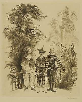 1923 Kostüme (HERBERT LEHMANN - Fasching - Kinder in Kostümen - Radierung 1923)