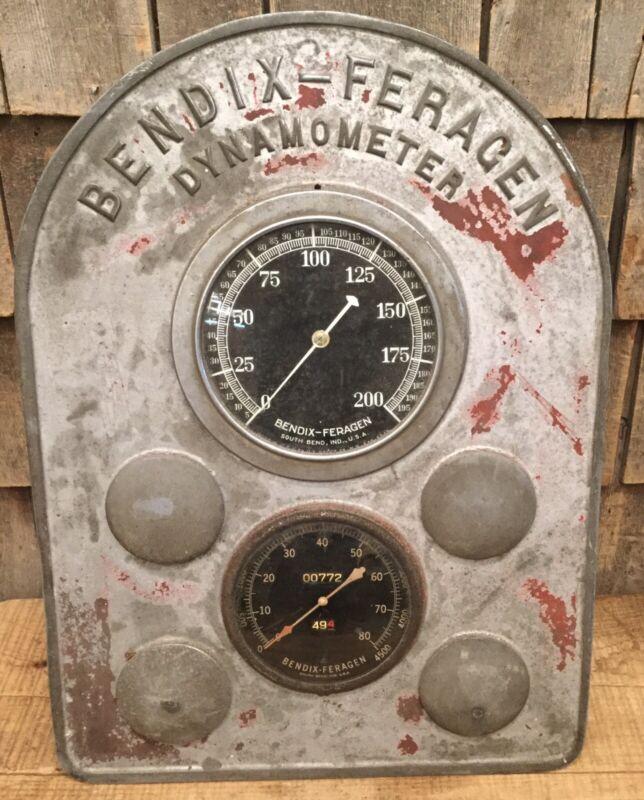 🔥 KILLER Antique Early 1920s BENDIX FERAGEN DYBAMONMETER Gauge Sign Steam Punk