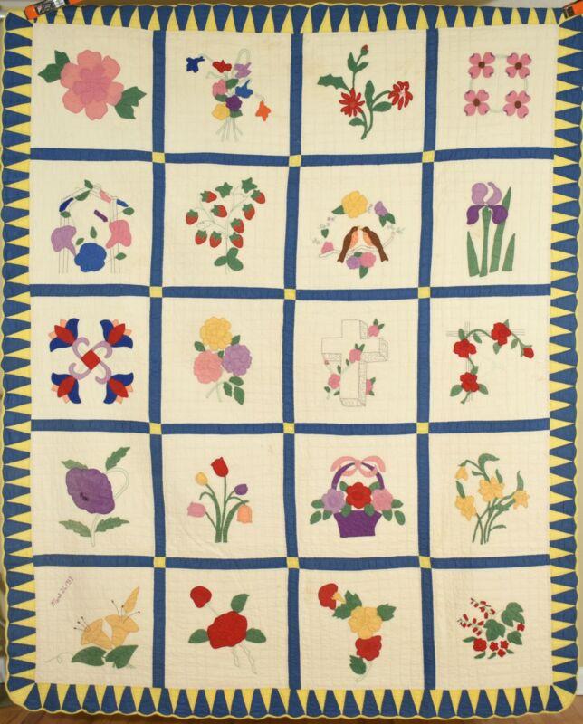 OUTSTANDING Vintage Album Applique Antique Quilt ~Flowers, Birds, Cross d. 1938!