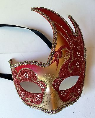 Rust/Gold Glittered Masquerade Mask/Balls/Fancy Dress/Haloween/HenNight Party - Haloween Clothes