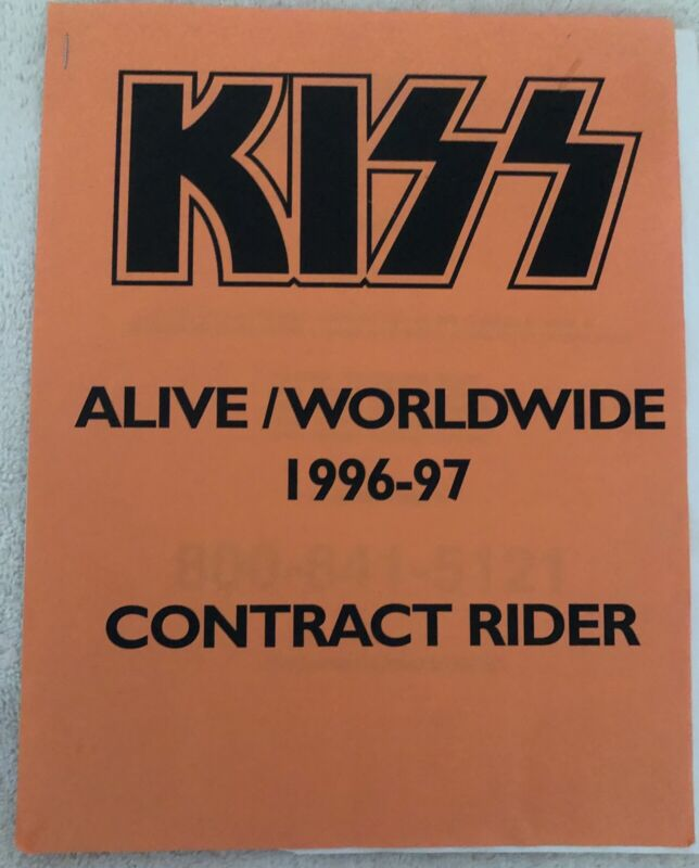 Kiss 1996-97 Alive Tour Contract Rider Original