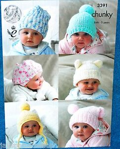 Babies Childs Chunky Knit Assorted Hats Knitting Pattern 0 -  5 Years