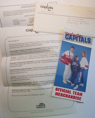WASHINGTON CAPITALS 1993 OFFICIAL MERCHANDISE BROCHURE and  LETTER with ENVELOPE Washington Capitals Merchandise