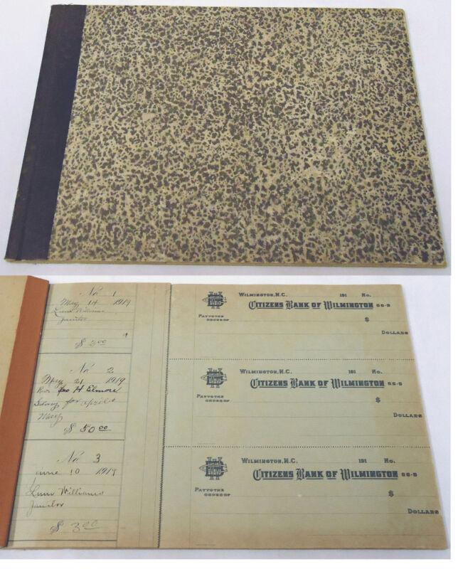 1919 CITIZENS BANK OF WILMINGTON, NC bank checkbook ~ 53 checks