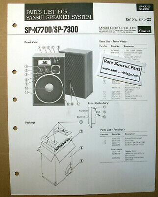 Original Part List for Sansui Speakers SP-X7700, SP-7300 ! segunda mano  Embacar hacia Argentina