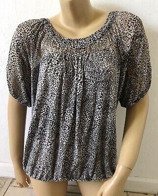 ANN TAYLOR LOFT Womens Size LM Animal Print Peasant Blouse Shirt Short Sleeve
